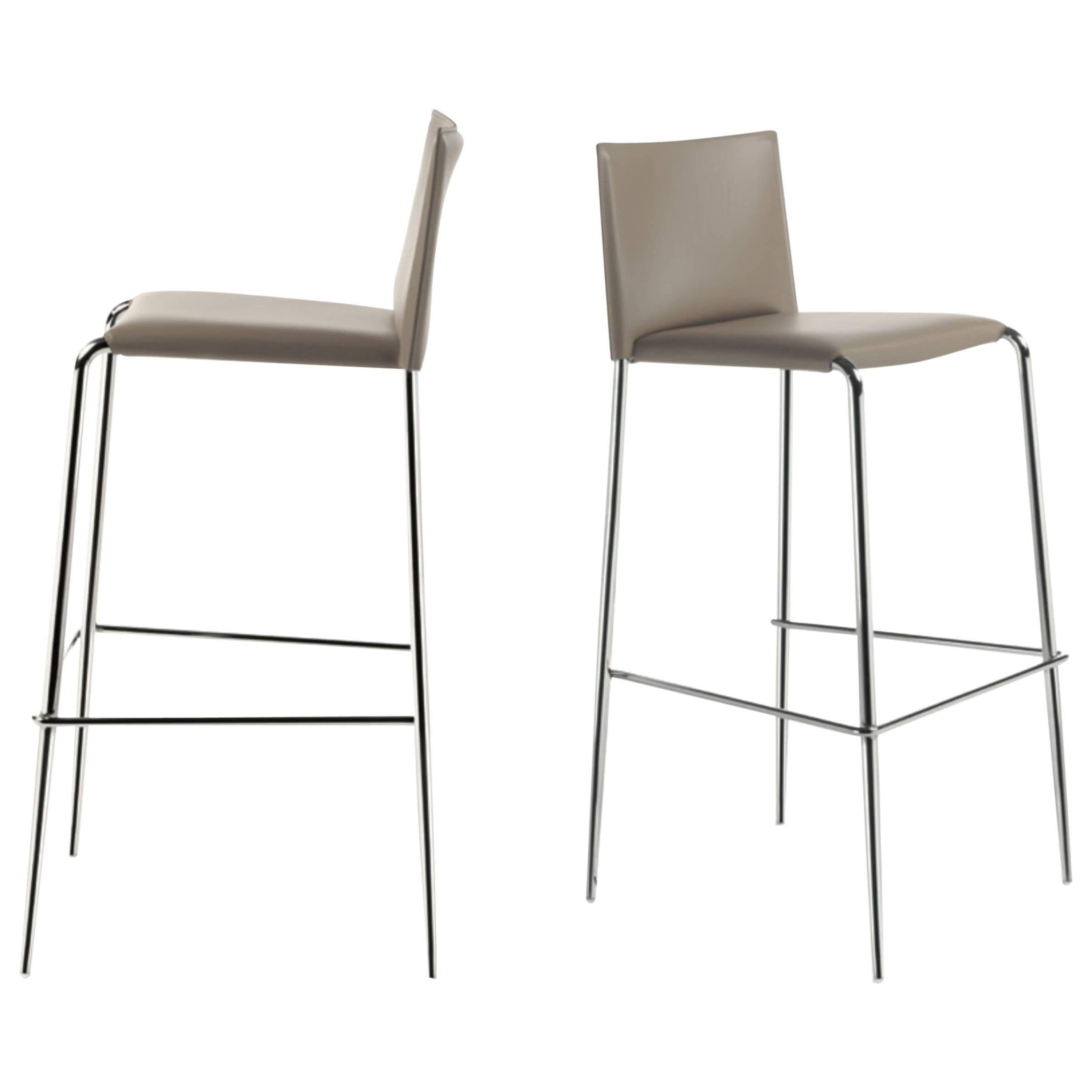 Italian Modern Bar Stools Leather And Chrome Or Painted Black Or White For  Sale
