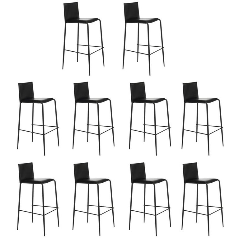Italian Modern Leather Bar or Counter Stools Made in Italy For Sale