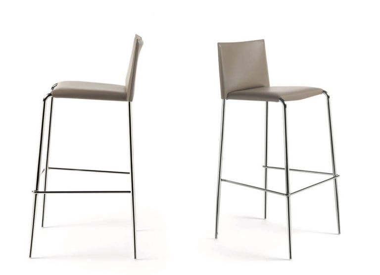 Italian Modern Leather Bar or Counter Stools Made in Italy In New Condition For Sale In Jersey City, NJ