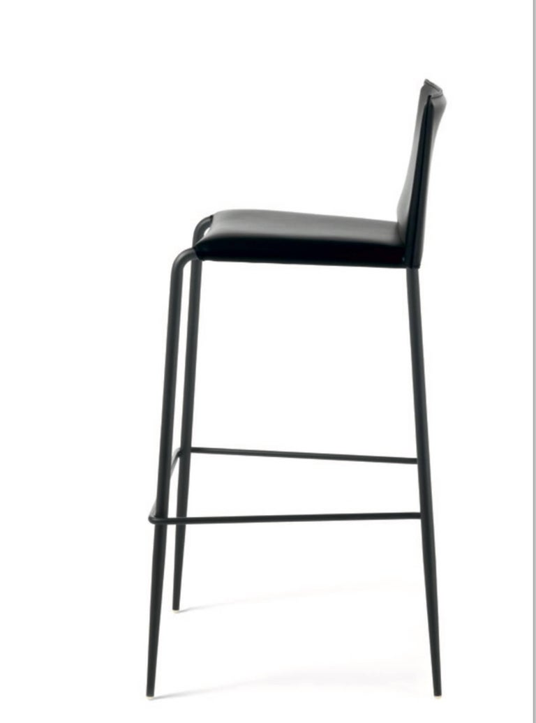 Contemporary Italian Modern Leather Bar or Counter Stools Made in Italy For Sale