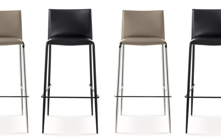 Hide Italian Modern Leather Bar or Counter Stools Made in Italy For Sale