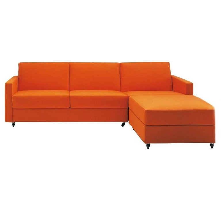 Modern Italian Sectional Sofa Beds With Storage Fabric Or Leather For