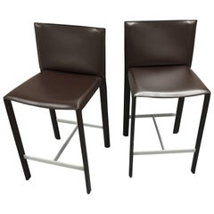 Set of Two Modern Italian Leather Counter Stools Dark Brown