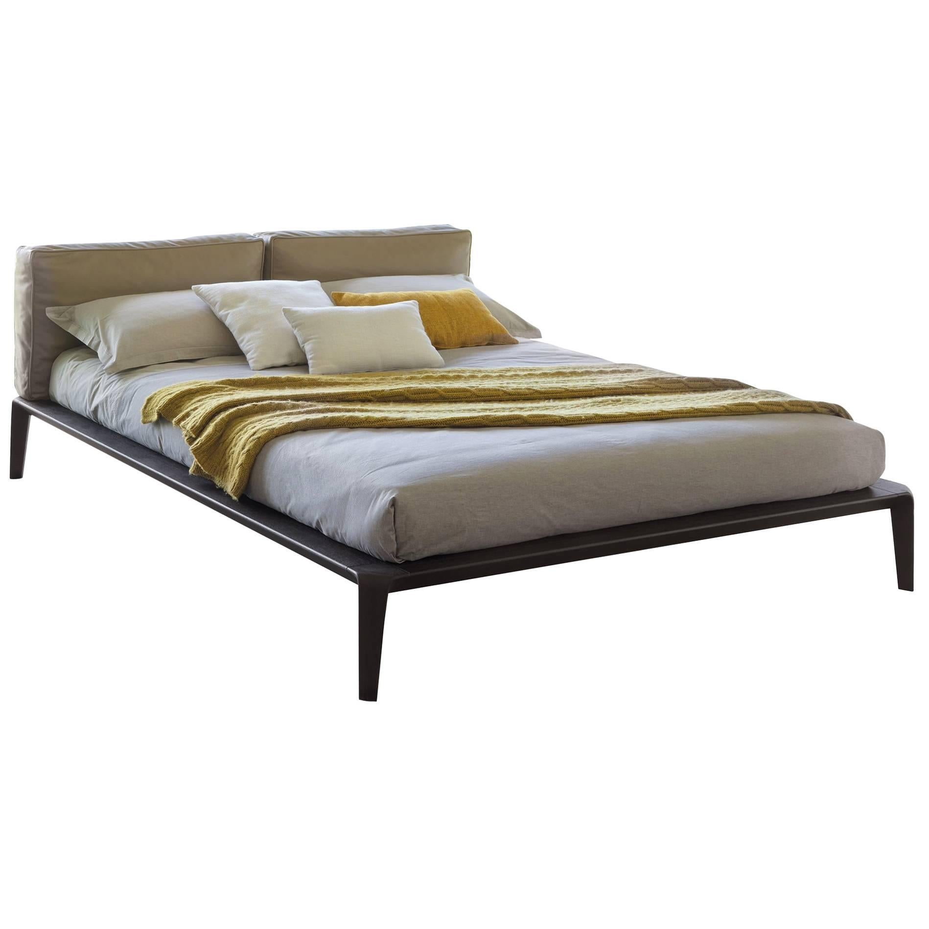 Bon Italian Contemporary Bed, Leather Headboard, Wood Bed Frame, Made In Italy  For Sale