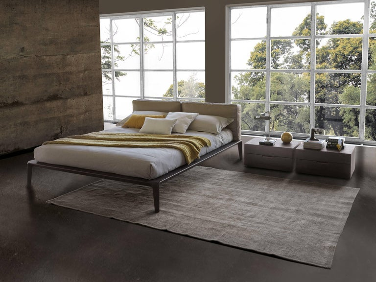 Made In Italy Leather Luxury Contemporary Furniture Set: Italian Contemporary Bed, Leather Headboard, Wood Bed