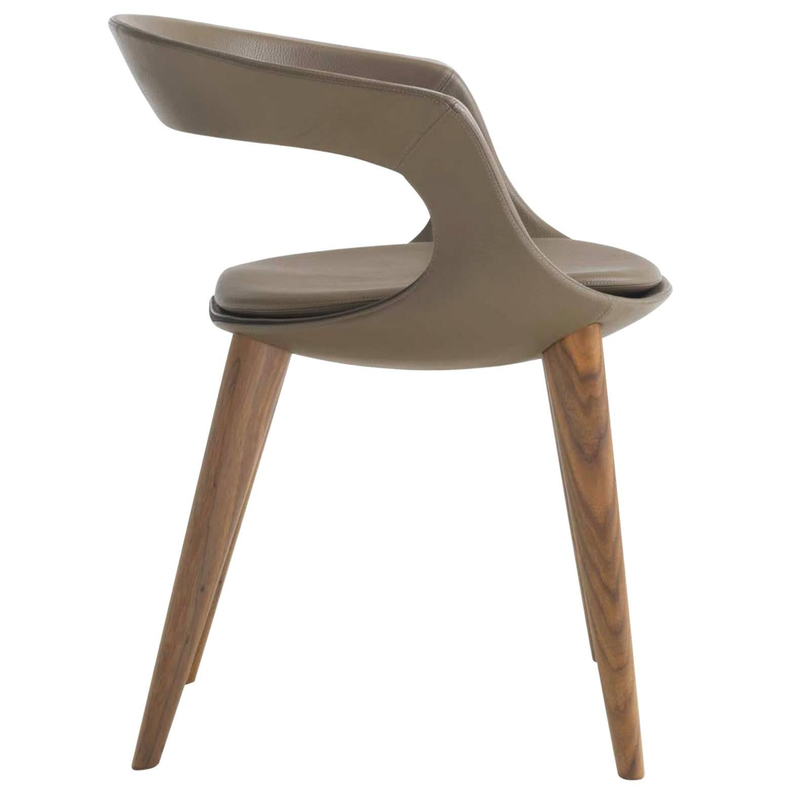 Superieur Modern Italian Leather Dining Chairs With Wooden Legs, Hand Made In Italy
