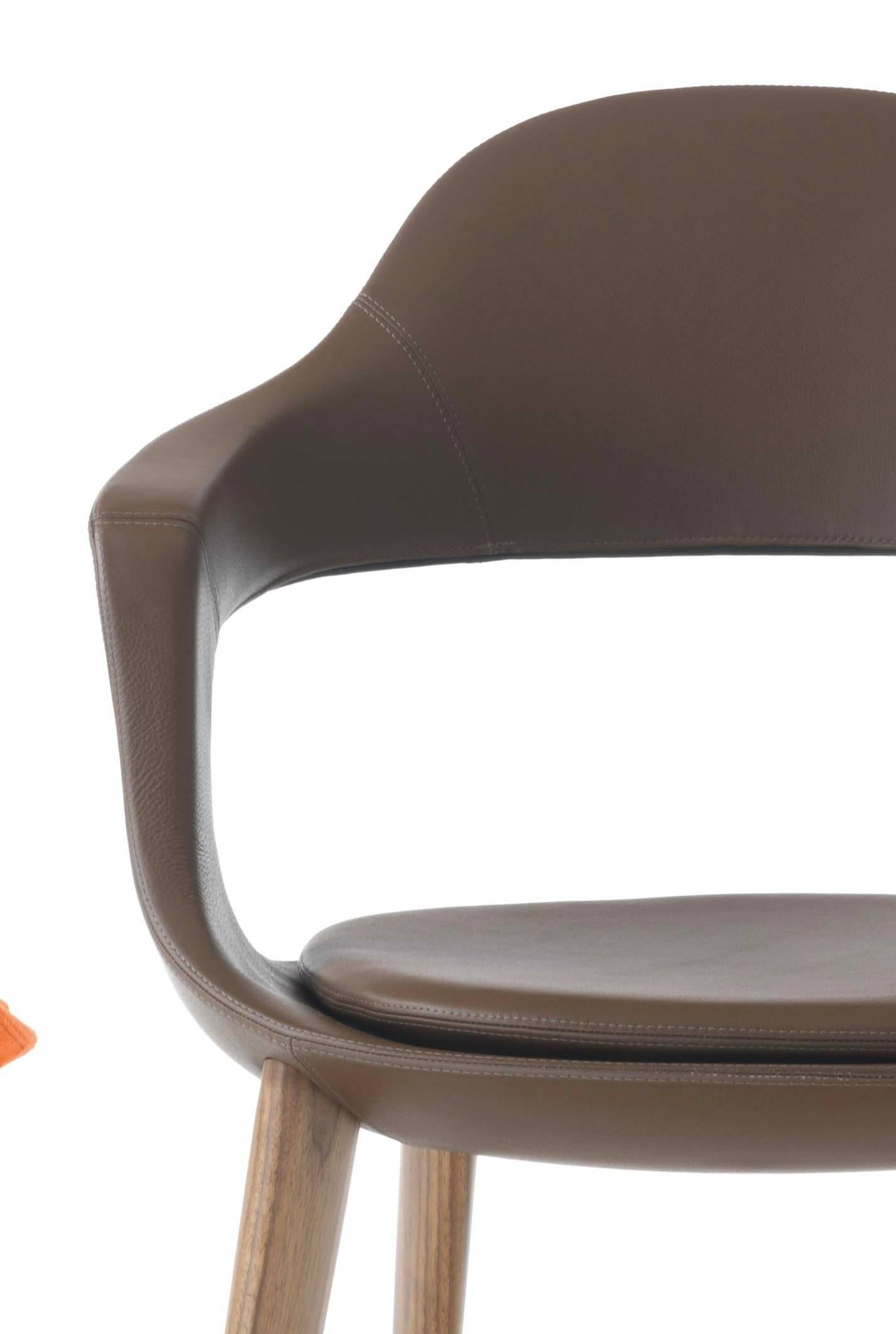 Modern Italian Leather Dining Chairs With Wooden Legs, Hand Made In Italy  For Sale At 1stdibs