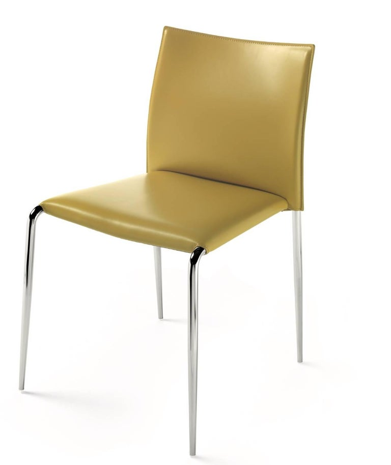 Astonishing Italian Contemporary Dining Armchairs Leather And Chrome Made In Italy Camellatalisay Diy Chair Ideas Camellatalisaycom