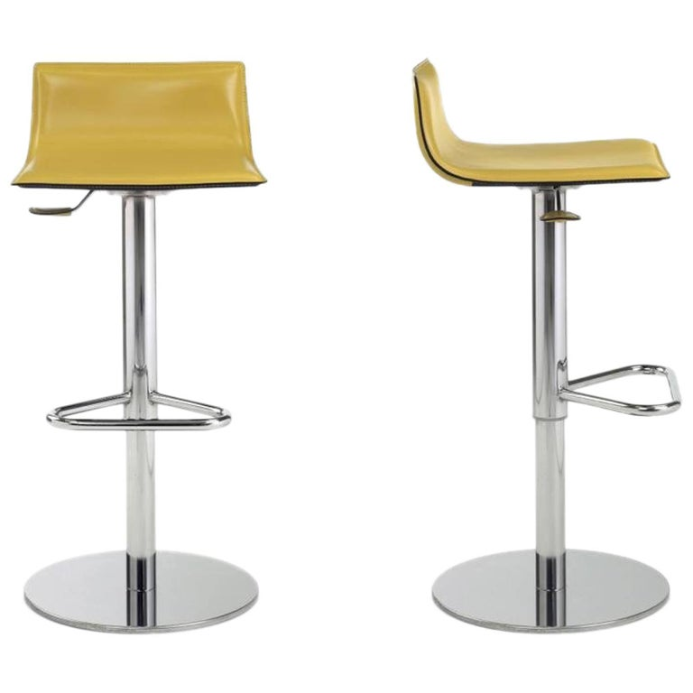 Designer Italian Bar Stools Leather with Adjustable Seat and Chrome Base For Sale