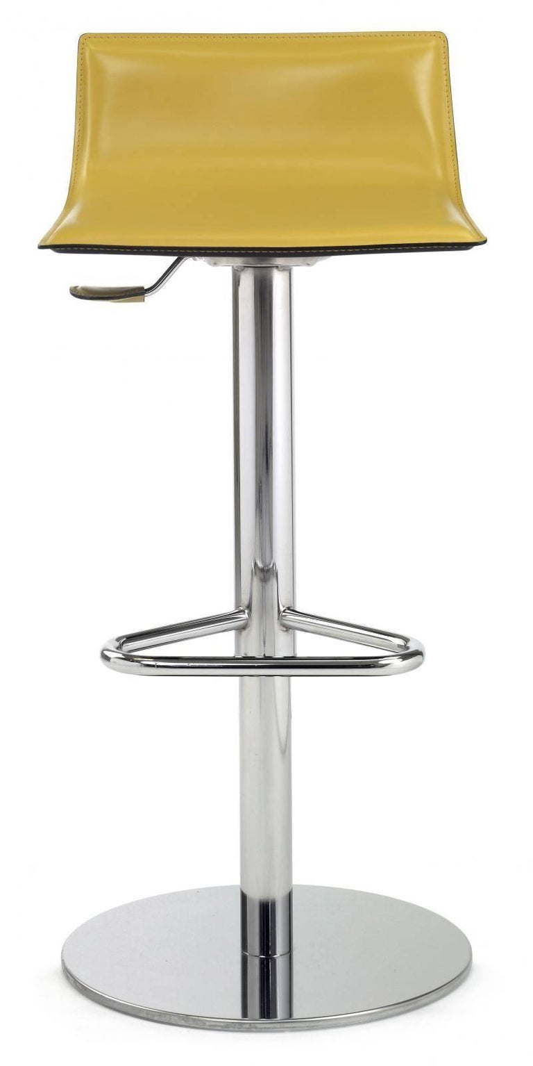 Italian modern bar stool with a chrome pedestal base, adjustable seat, thick hide leather. Gas seat height adjustment. New, made to order, made in Italy.