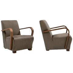 Italian Modern Arm chairs Wood Armrests and Fabric or Leather cover
