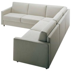 Modern Sectional Sofa Bed with Storage Ottoman Made in Italy Fabric