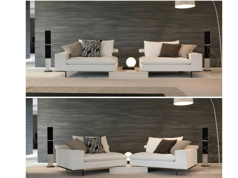 Italian Modular Sectional Sofa with Wooden Back Shelf and Bench ...