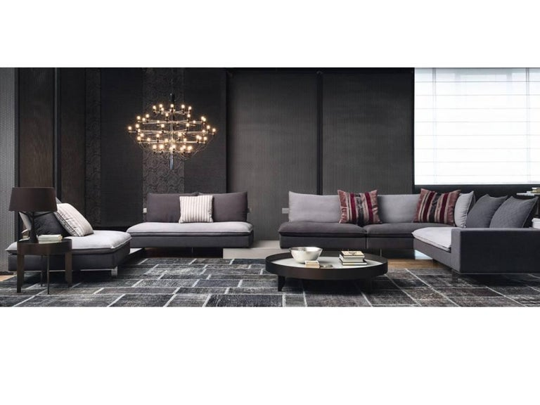 Italian Modular Sectional Sofa with Wooden Back Shelf and Bench Modern  Design
