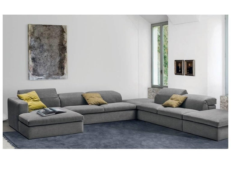 Italian Modern Sectional Fabric Sofa with Adjustable Back, Four Large Pieces