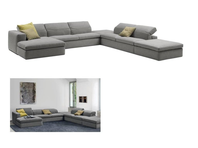 Italian Modern Sectional Fabric Sofa with Adjustable Back, Four ...