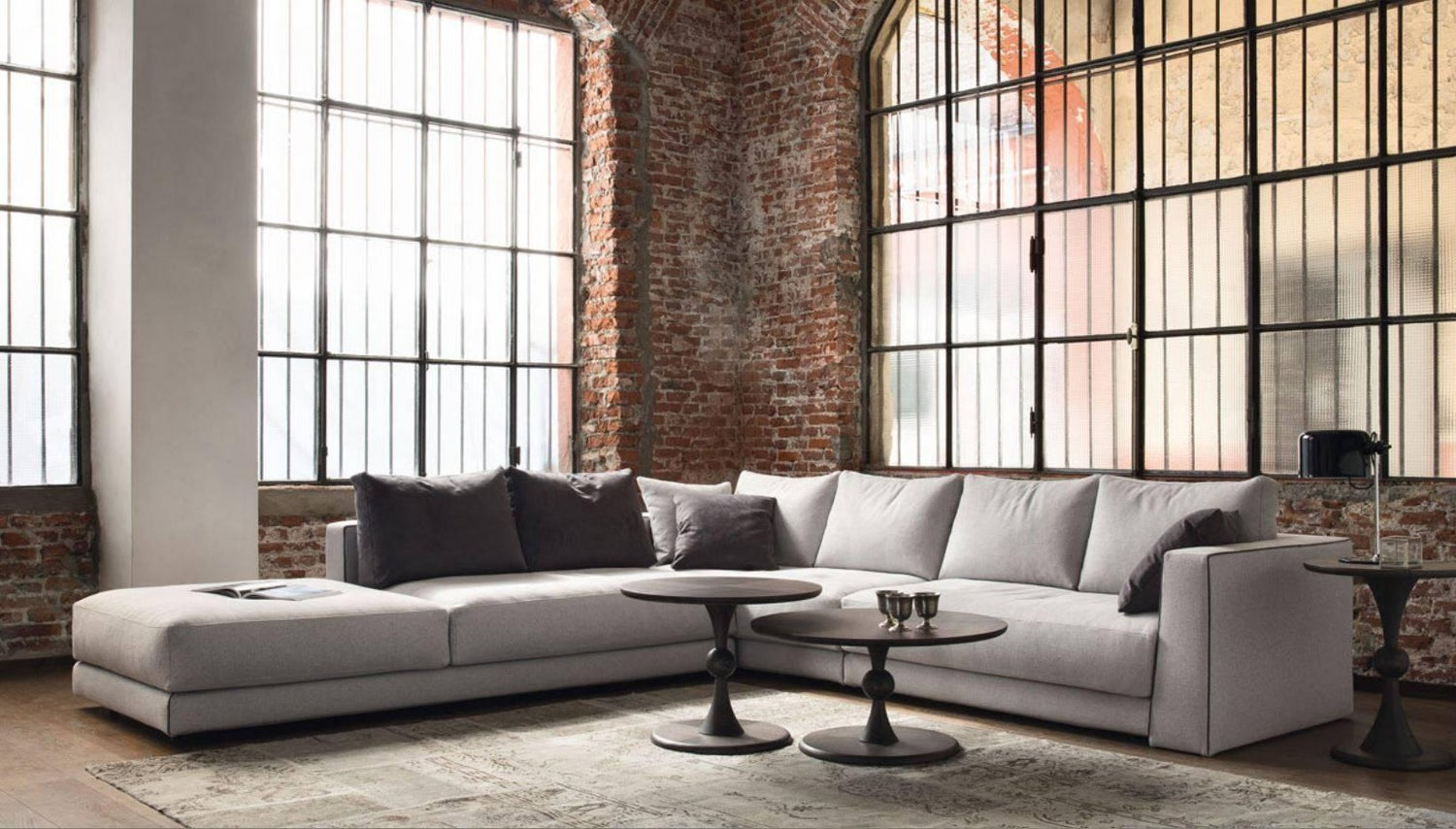 Italian Designer Sofa With Sculptural Arms Made In Italy Fabric Or