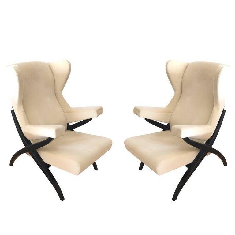 Franco Albini Fiorenza Lounge Chairs Beige Cotton Velvet