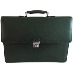 Pineider Men's Green Leather Briefcase with Matching Wallet
