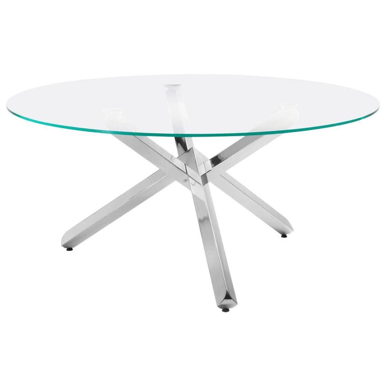 Modern Italian Dining Table with Glass Round Top and Chrome Cross Base For Sale
