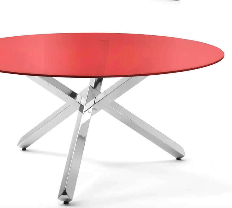 Contemporary Modern Italian Dining Table with Glass Round Top and Chrome Cross Base For Sale