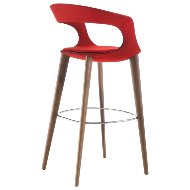 Cool Modern Italian Bar Stool Wood Legs Felt Or Leather Upholstery Custom Made Bralicious Painted Fabric Chair Ideas Braliciousco