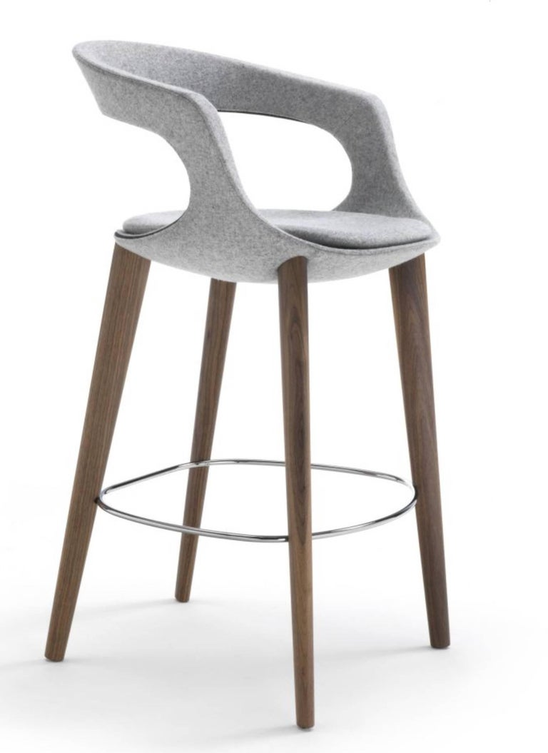 Made In Italy Leather Luxury Contemporary Furniture Set: Modern Italian Bar Stool, Wood Legs, Felt Or Leather