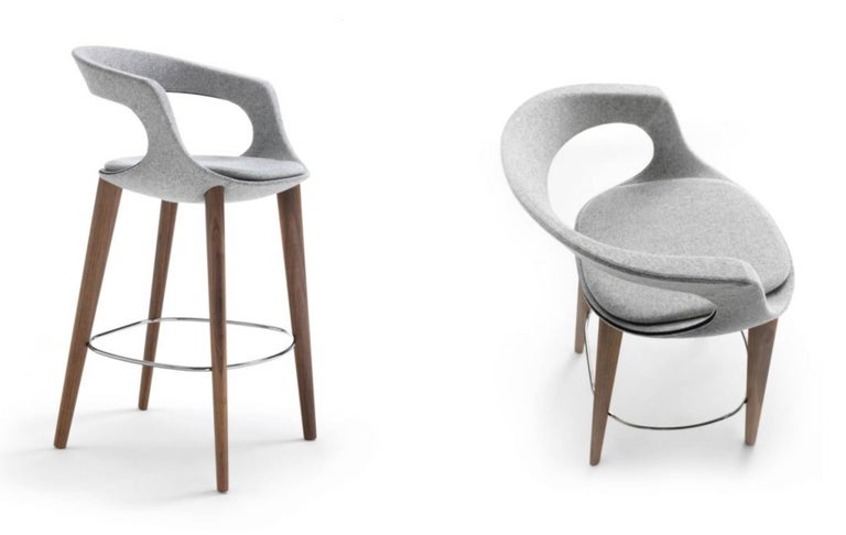 Pleasing Modern Italian Bar Stool Wood Legs Felt Or Leather Upholstery Custom Made Inzonedesignstudio Interior Chair Design Inzonedesignstudiocom