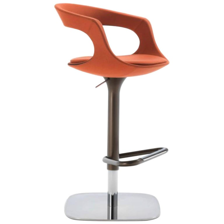 Modern Italian Bar or Counter Stool, Leather or Felt, Adjustable and Swivel For Sale