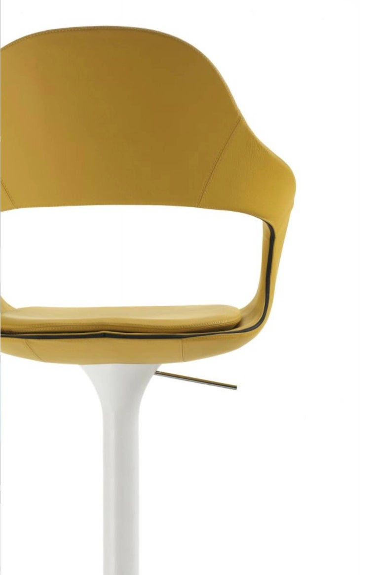 Contemporary Modern Italian Bar or Counter Stool, Leather or Felt, Adjustable and Swivel For Sale