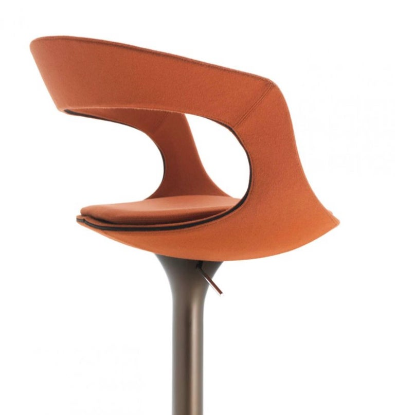 Wool Modern Italian Bar or Counter Stool, Leather or Felt, Adjustable and Swivel For Sale