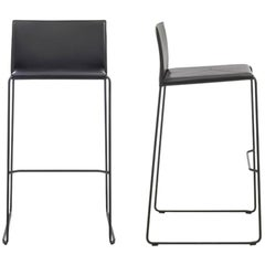 Modern Bar Stool Made in Italy, New, Leather Available in 30 Colors