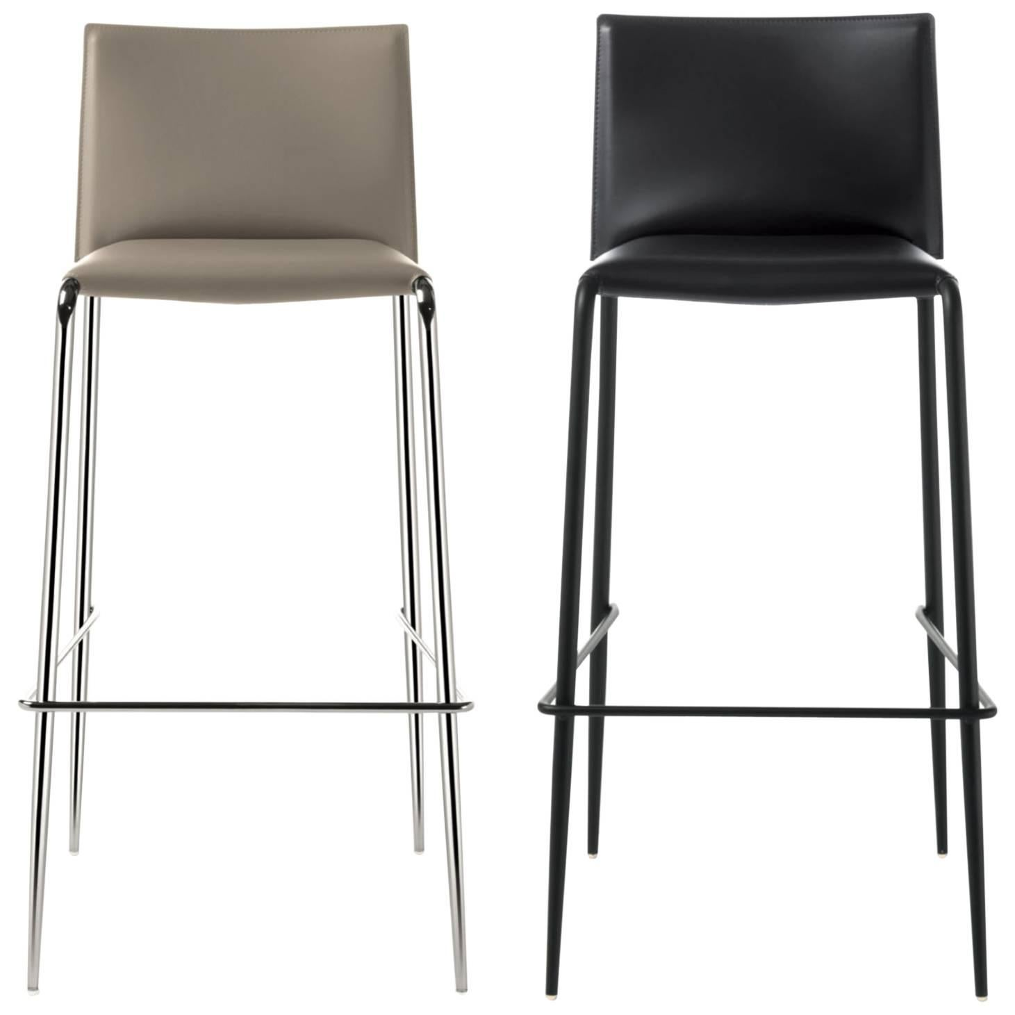 Merveilleux Italian Modern Bar Stool Made Of Leather, Made In Italy, New 30 Colors  Available