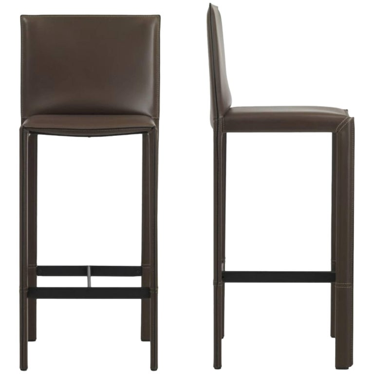 Italian Modern Leather Bar Stools Made in Italy For Sale