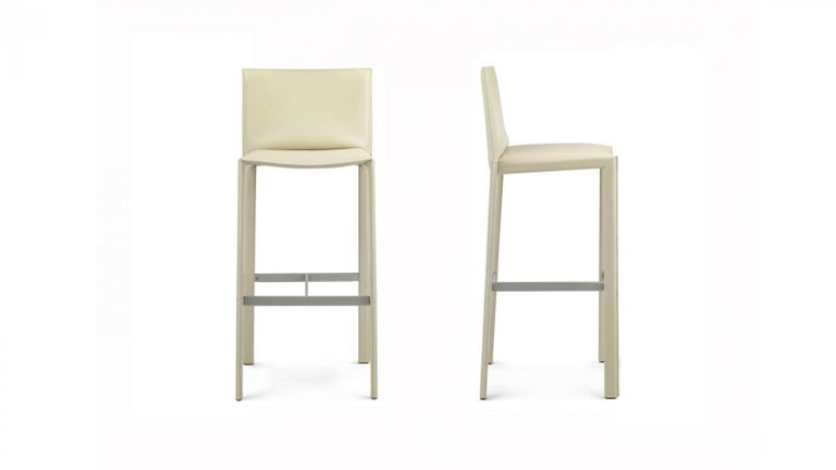 Italian Modern bar stool or counter stool (your choice) from our Italian Modern Furniture Collection, available in different colors. Italian thick hide leather with visible stitching, high quality manufacturing. The thick high quality leather is
