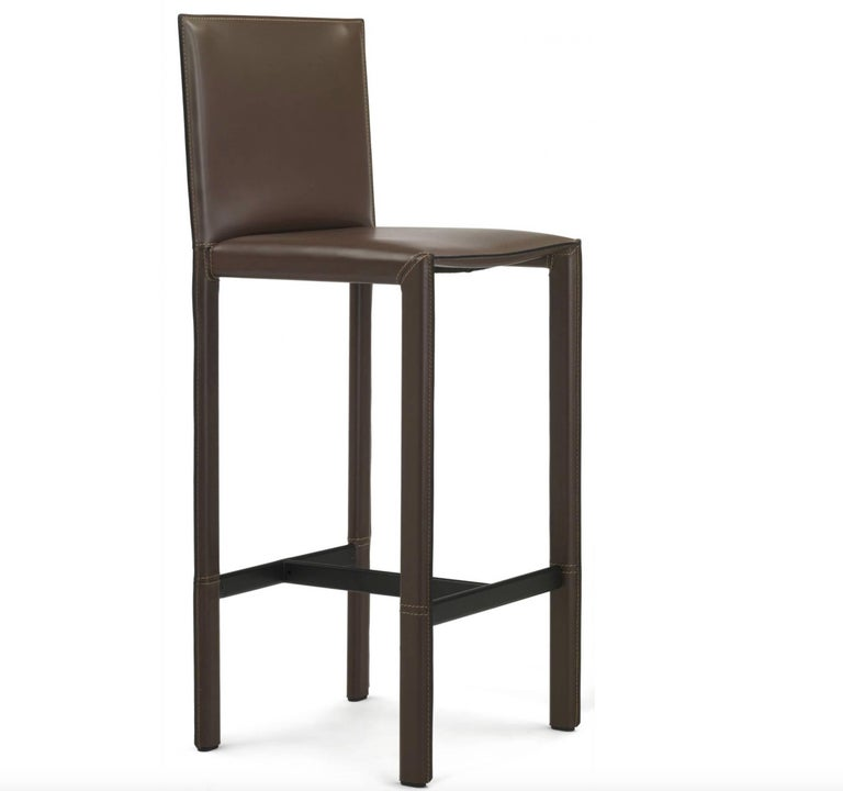 Italian Modern Leather Bar Stools Made in Italy For Sale 1