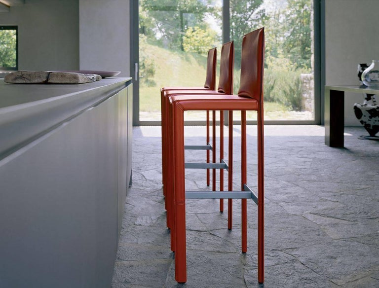 Italian Modern Leather Bar Stools Made in Italy For Sale 2