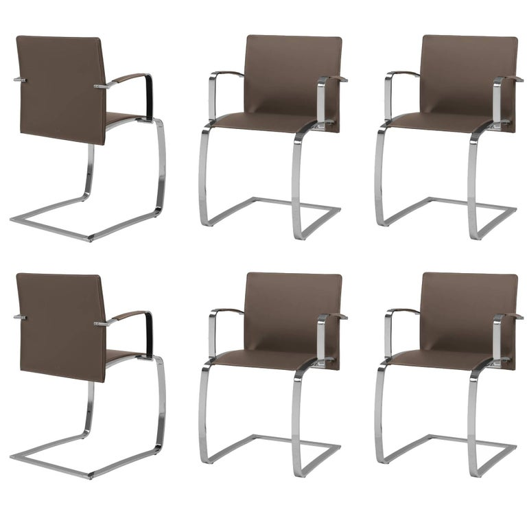 Set Of Six Italian Leather Dining Room Chairs With Arms