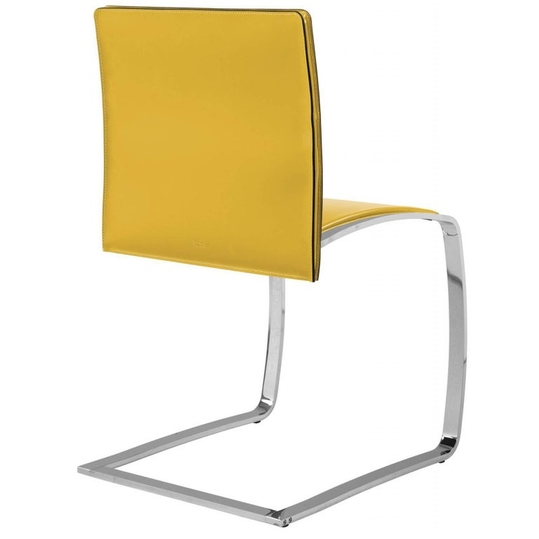 Italian Modern Dining Chair Made in Italy, New, Leather and Chrome Finish For Sale