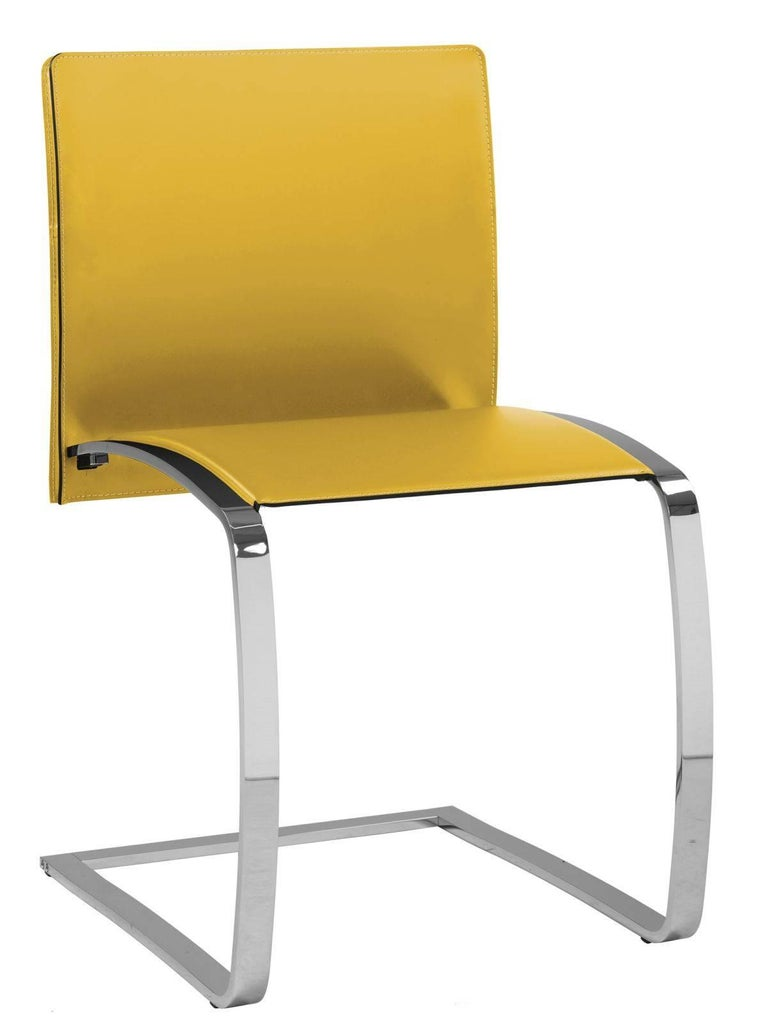 Italian Modern Dining Chair Made in Italy, New, Leather and Chrome Finish In New Condition For Sale In Jersey City, NJ
