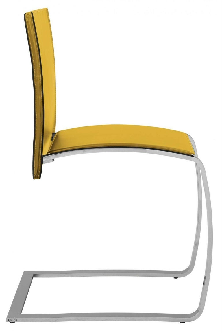 Contemporary Italian Modern Dining Chair Made in Italy, New, Leather and Chrome Finish For Sale