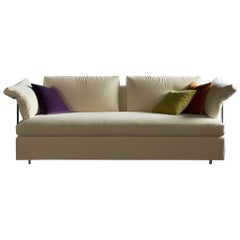 Italian Modern Sofa Bed Sb46 with Arms, Fabric, New, Made in Italy