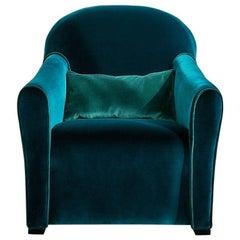Modern Italian Designer Armchair upholstered in fabric or velvet