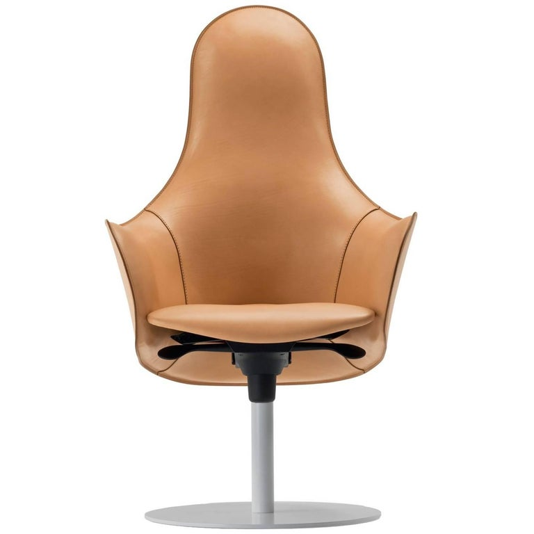 Modern Office Chairs, Made in Italy, Soft Full Grain Leather For Sale