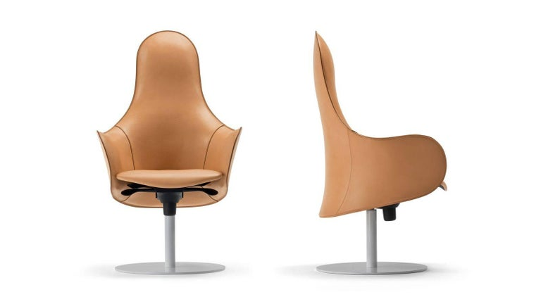 Modern Office Chairs, Made in Italy, Soft Full Grain Leather For Sale 1