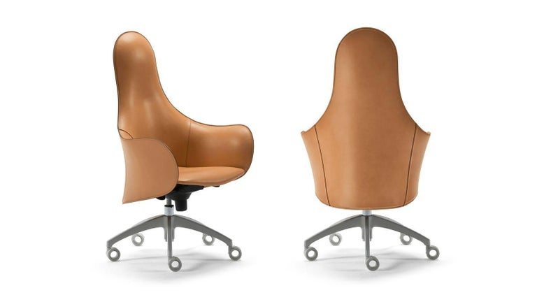 Modern Office Chairs, Made in Italy, Soft Full Grain Leather For Sale 2