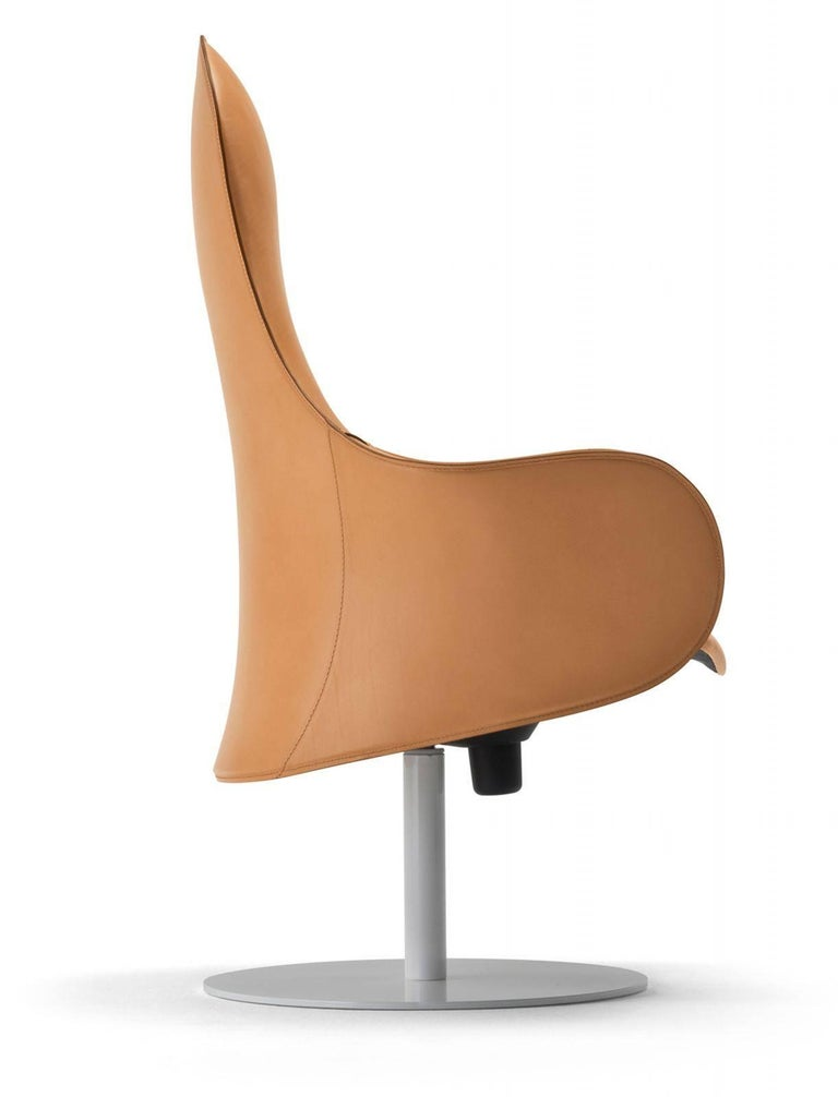 Modern Office Chairs, Made in Italy, Soft Full Grain Leather For Sale 3