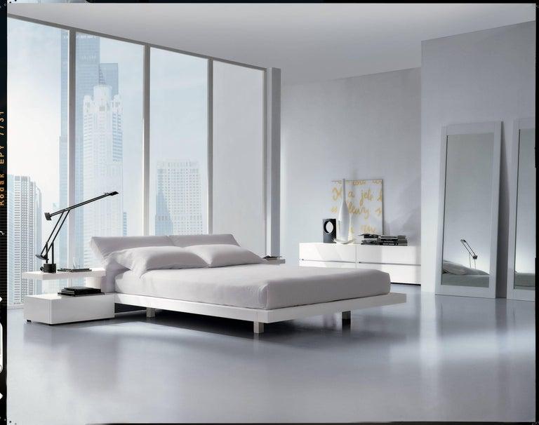 Italian Modern Platform Bed, Italian Furniture, High Gloss Lacquered