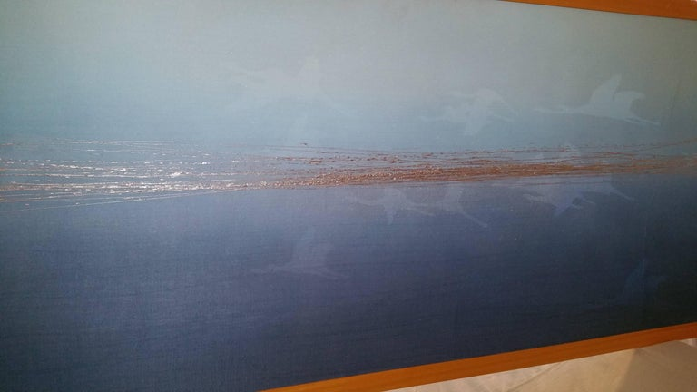 Oversize modern contemporary painting from Italian artist from Southern Italy (signed and labeled on the back) dated 2007. Lurex fabric, acrylic, tin. This contemporary artwork will add a beautiful pop of color to any room. The blue is subtle and
