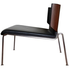 Italian Modern Armchair, Black Leather and Wenge Wood, Italy